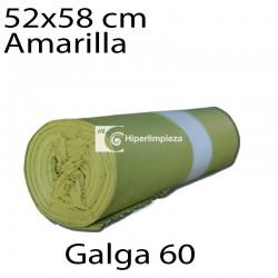 Bolsas basura 52x58 cm 25 uds amarillo galga 60