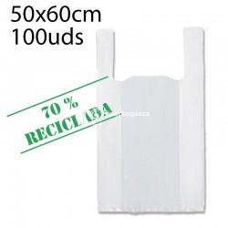 Bolsas camiseta recicladas 50x60 cm 500 uds blanco